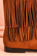 Moncton - Light brown fringed ankle boots