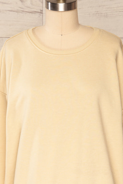 Monki Beige Oversized Crew Sweatshirt | La petite garçonne  front close up