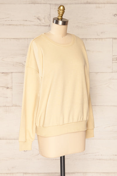 Monki Beige Oversized Crew Sweatshirt | La petite garçonne side view