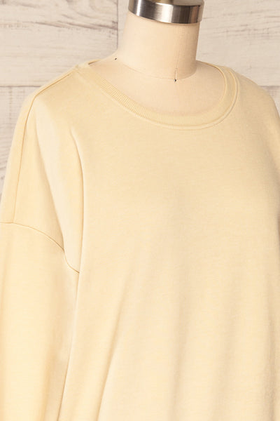 Monki Beige Oversized Crew Sweatshirt | La petite garçonne  side close up