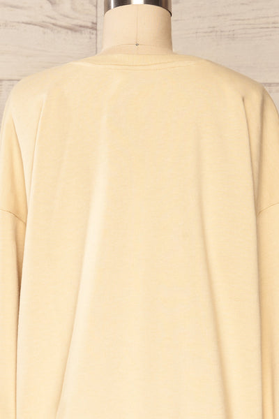 Monki Beige Oversized Crew Sweatshirt | La petite garçonne  back close up