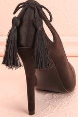 Monsigny Onyx Black Satin Stilettos with Tassels | Boutique 1861