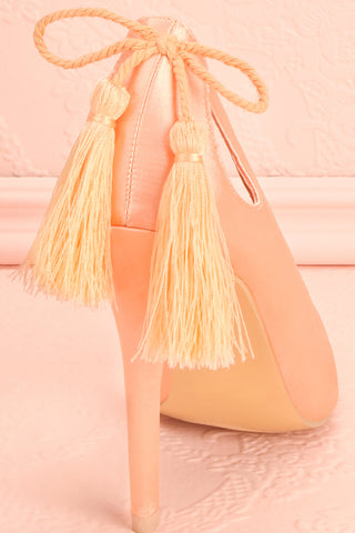 Monsigny Quartz Blush Satin Stilettos with Tassels | Boutique 1861