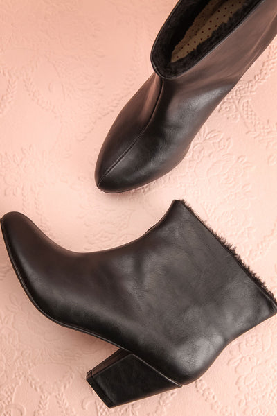 Montesquieu Black Faux Fur Lined Ankle Boots | Boutique 1861