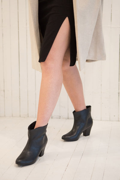 Montesquieu Black Faux Fur Lined Ankle Boots | Boutique 1861 model