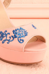 Montmartre Pink Embroidered Heel Sandals | Boutique 1861