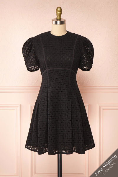 Morena Black Embroidered Short Sleeve Dress | Boutique 1861 front view