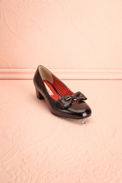 Mornay Noir Black Patent 60s Inspired Heels | Boutique 1861