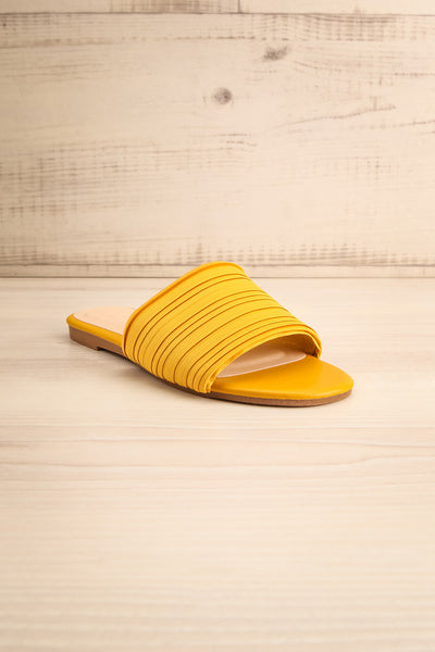 Mox Yellow Pleated Slide Sandals | La petite garçonne front view