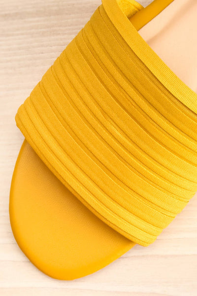 Mox Yellow Pleated Slide Sandals | La petite garçonne flat close-up