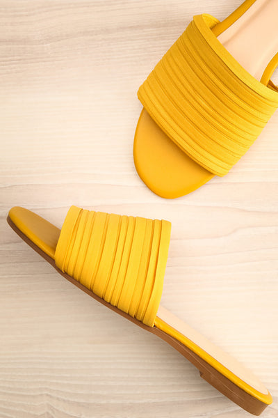 Mox Yellow Pleated Slide Sandals | La petite garçonne flat view