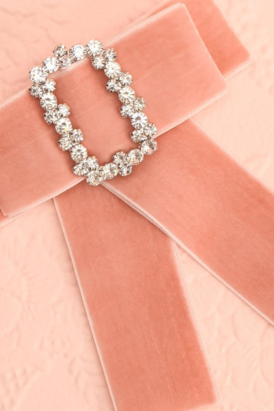 Mura Blush Velvet Ribbon Bow & Crystal Brooch | Boutique 1861 2