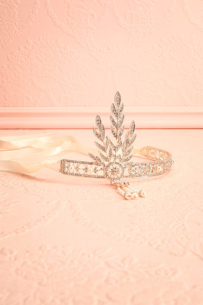 Muriel Gold Rhinestones & Pearls Gatsby Headband | Boutique 1861 flat view
