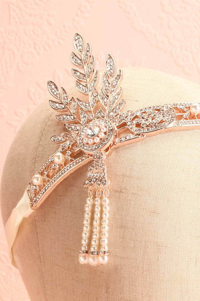 Muriel Rosegold Rhinestones & Pearls Headband | Boutique 1861 close-up