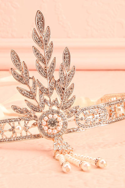 Muriel Rosegold Rhinestones & Pearls Headband | Boutique 1861 flat close-up