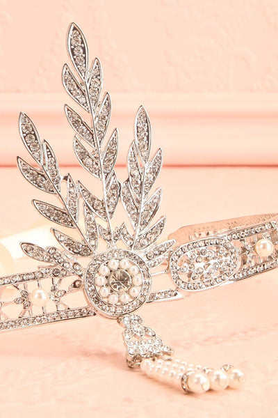Muriel Silver Rhinestones & Pearls Headband | Boutique 1861 flat close-up