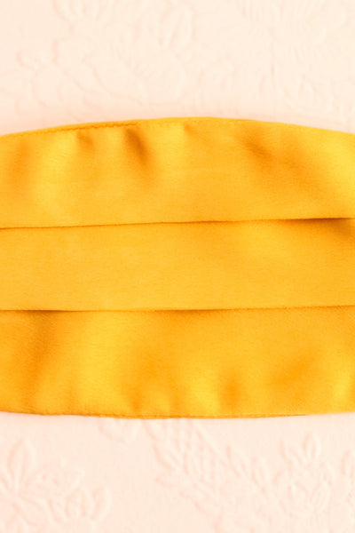 Mustard Satin Pleated Face Mask | Boutique 1861 close-up