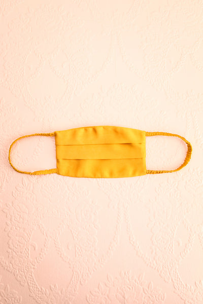 Mustard Satin Pleated Face Mask | Boutique 1861