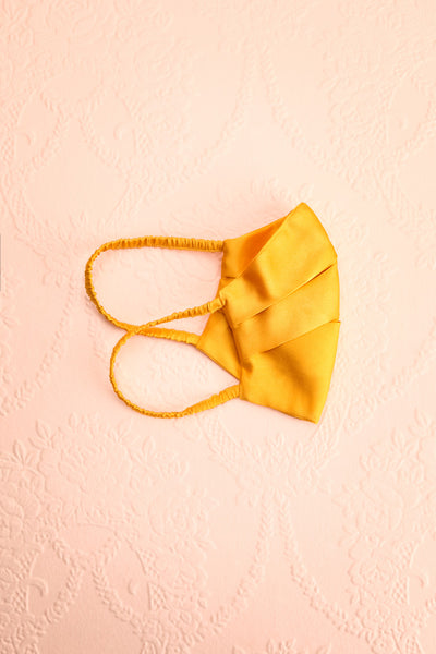 Mustard Satin Pleated Face Mask | Boutique 1861 folded