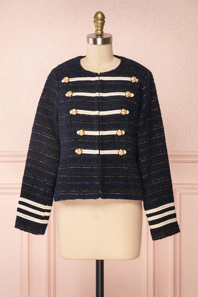 Mwuma Navy Blue & Gold Tweed Double Breasted Jacket front view | Boutique 1861