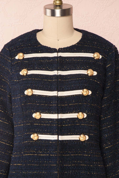 Mwuma Navy Blue & Gold Tweed Double Breasted Jacket front close up | Boutique 1861