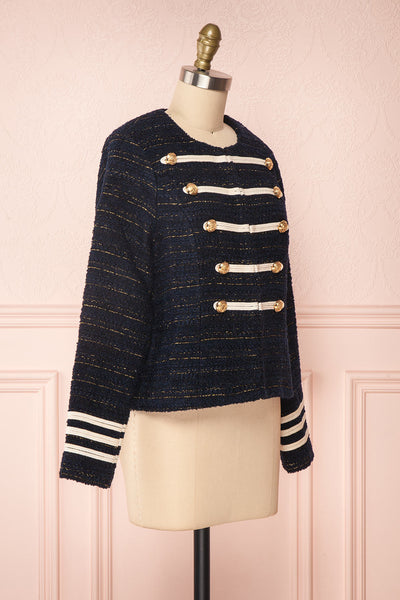 Mwuma Navy Blue & Gold Tweed Double Breasted Jacket side view | Boutique 1861