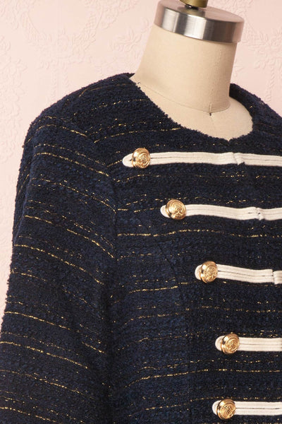Mwuma Navy Blue & Gold Tweed Double Breasted Jacket side close up | Boutique 1861