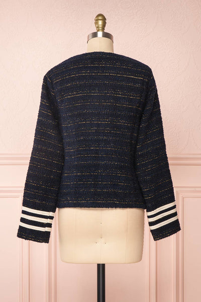 Mwuma Navy Blue & Gold Tweed Double Breasted Jacket back view | Boutique 1861