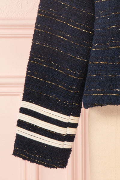 Mwuma Navy Blue & Gold Tweed Double Breasted Jacket sleeveclose up | Boutique 1861