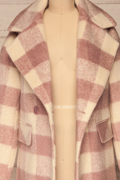 Myslowice White & Pink Long Plaid Coat | La petite garçonne open close-up