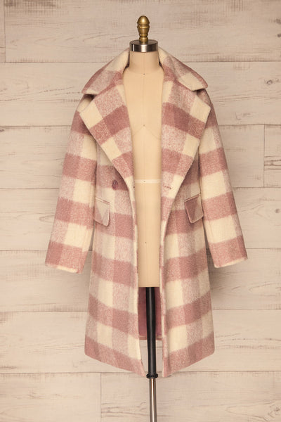 Myslowice White & Pink Long Plaid Coat | La petite garçonne open view