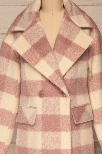 Myslowice White & Pink Long Plaid Coat | La petite garçonne front close-up