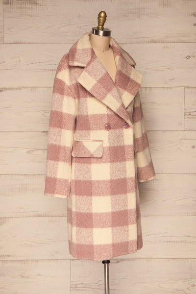 Myslowice White & Pink Long Plaid Coat | La petite garçonne side view