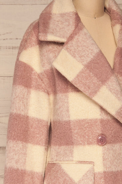 Myslowice White & Pink Long Plaid Coat | La petite garçonne side close-up