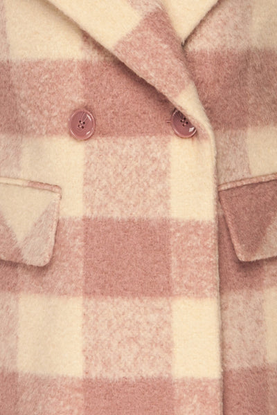 Myslowice White & Pink Long Plaid Coat | La petite garçonne fabric