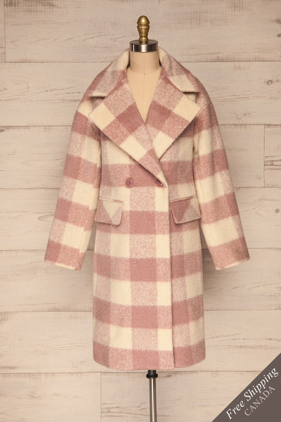 Myslowice White & Pink Long Plaid Coat | La petite garçonne front view