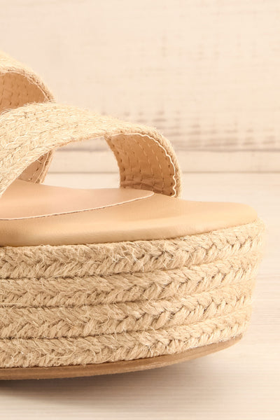 Nacule Beige Braided Cord Platform Sandals | La petite garçonne front close-up