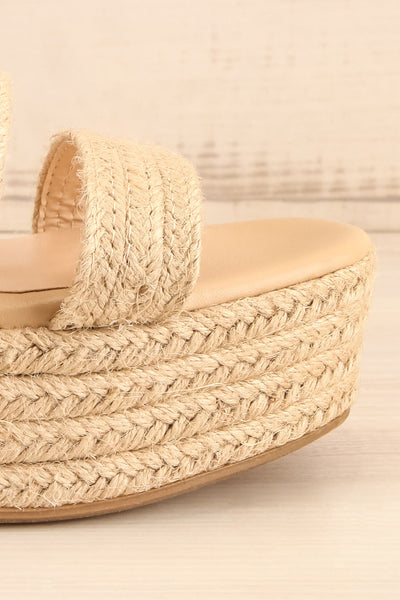 Nacule Beige Braided Cord Platform Sandals | La petite garçonne side front close-up