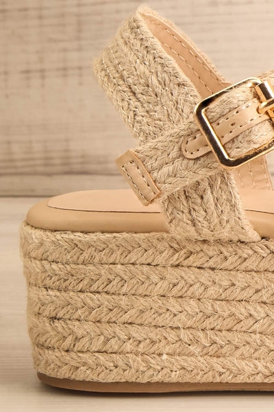 Nacule Beige Braided Cord Platform Sandals | La petite garçonne side close-up