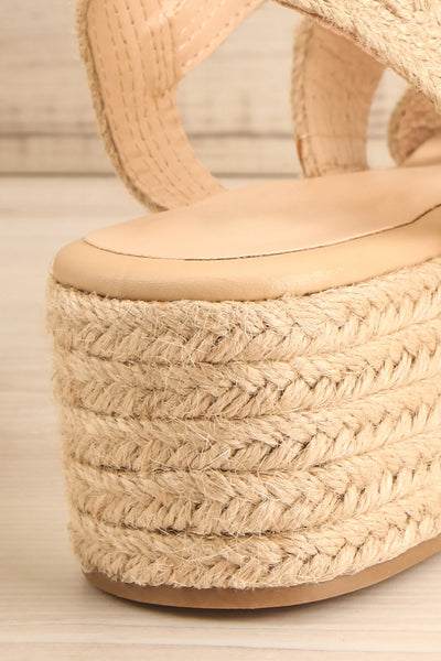 Nacule Beige Braided Cord Platform Sandals | La petite garçonne back close-up