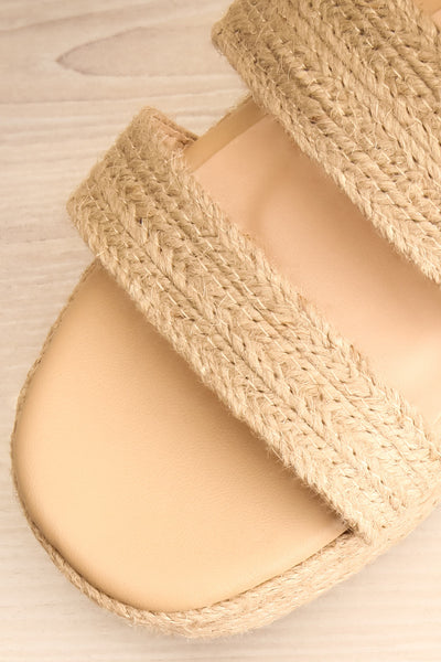 Nacule Beige Braided Cord Platform Sandals | La petite garçonne flat close-up