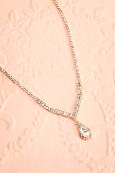 Nadia Gold Sparkling Necklace | Boutique 1861 flat view