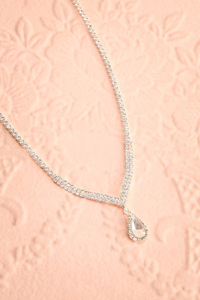 Nadia Silver Sparkling Necklace | Boutique 1861 flat view