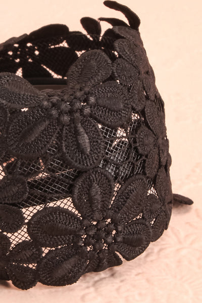 Naemi Noir Black Floral Lace Headband close-up | Boutique 1861