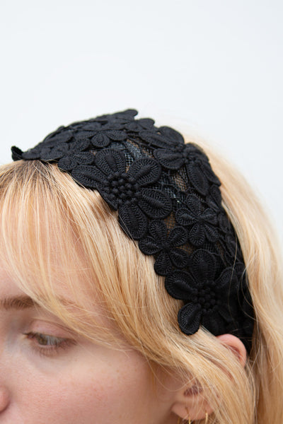 Naemi Noir Black Floral Lace Headband | Boutique 1861 model