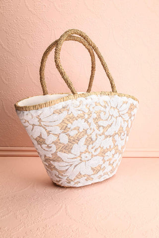 Nanakuli Large Straw Tote Bag with Sequin Embroidery | Boutique 1861 3