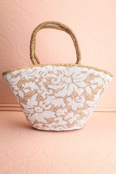 Nanakuli Large Straw Tote Bag with Sequin Embroidery | Boutique 1861 1