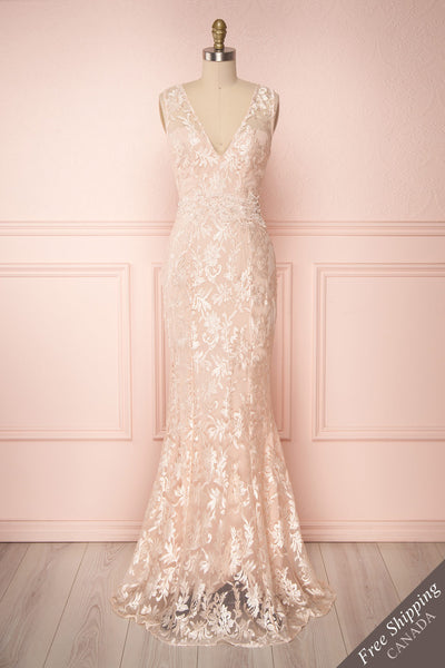 Naoyo Blush Pink Lace Mermaid Gown with Pearls | Boutique 1861