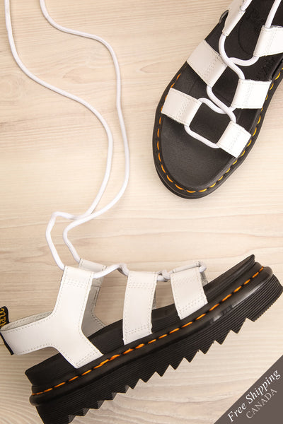 Nartilla White Ankle-Tie Gladiator Sandals | La petite garçonne flat view