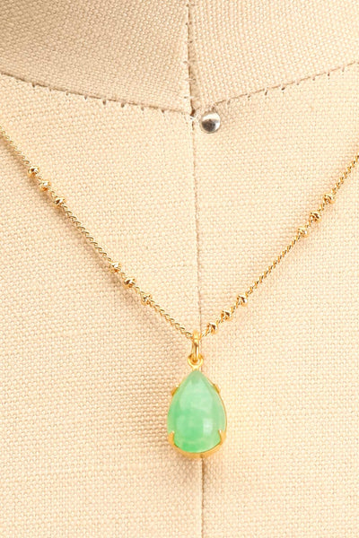 Natalie Dessay Green & Golden Pendant Necklace | La Petite Garçonne close-up